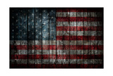 American Flag Painted On Fence Background