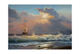 Oil Painting On Canvas   Sailboat Against A Background Of Sea