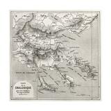 Chalkidiki Old Map  Greece Created By Vuillemin  Published On Le Tour Du Monde  Paris  1860