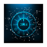 Horoscopes Zodiac Clock  New Year 2014 Abstract Background Raster Version