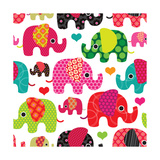 Seamless Retro Elephant Kids Pattern Wallpaper