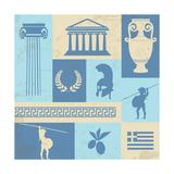 Greece Symbols And Landmarks On Retro Poster