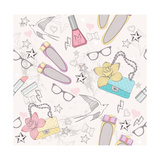 Cute Fashion Seamless Pattern For Girls Pattern With Shoes  Bags  Cosmetic  Makeup Elements