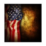 Closeup Of American Flag On Grunge Background Copy Space