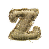 Linen Vintage Cloth Letter Z Isolated On White