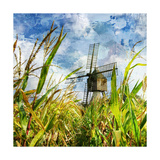 Windmill In Corn Field - Artwork In Painting Style