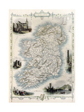 Ireland Old Map Created By John Tallis  Published On Illustrated Atlas  London 1851
