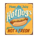 Vintage Tin Sign - Hot Dogs - Raster Version