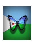 Djibouti Flag Butterfly  Isolated On Flag Background