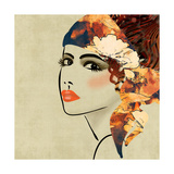 Art Colorful Sketching Beautiful Girl Face On Sepia Background  In Art Deco Style