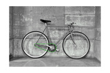A Fixed-Gear Bicycle (Also Called Fixie) In Black And White With A Green Chain
