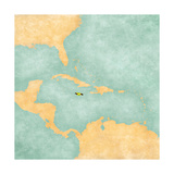 Map Of Caribbean - Jamaica (Vintage Series)
