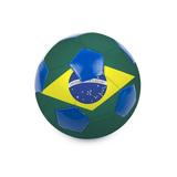 Soccer Ball With Brazil Flag On White