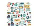 Seamless Pattern With Flat Movie Icons