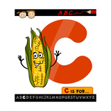 Letter C With Corn Cartoon Illustration