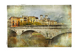 Girona  View With Bridge - Artistic Picture In Painting Style