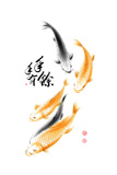 Chinese Carp Ink Painting Translation: Abundant Harvest Year After Year