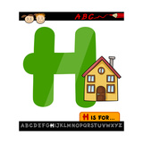 Letter H With House Cartoon Illustration