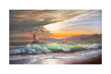 Oil Painting On Canvas   Sailboat Against A Background Of Sea Sunset