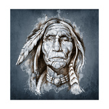 Sketch Of Tattoo Art  Portrait Of American Indian Head
