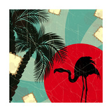 Retro Blue Tropical Background With Flamingo