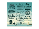 Vintage Summer Typography Design With Labels  Icons Elements Collection