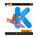 Letter K With Kayak Cartoon Illustration