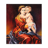 The Madonna With The Child  Drawn By Oil On A Canvas