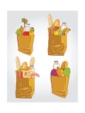 Paper Bag With Food Bread And Fruits  Vegetable