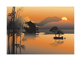 Magic Asian Lake With Sunset Background And Bamboo
