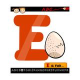 Letter E With Egg Cartoon Illustration