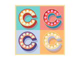 Simple And Clear Flat Lamp Alphabet - Letter C