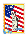 Postage Stamps With The Flag And The Statue Of Liberty