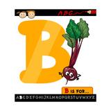 Letter B With Beet Cartoon Illustration