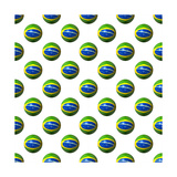 Seamless Brazilian Flag Spheres On White Background Illustration