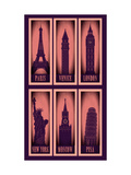 Vintage Silhouette Of Cities Symbols