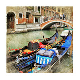 Venice Gondolas Artwork In Painting Style