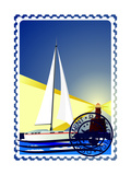 Postage Stamp Yacht At Sea And The Lighthouse