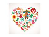 Mexico Love - Heart With Set Ofs Reproduction d'art par Marish
