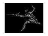 Fencing Pictogram With Related Wordings On Black Background