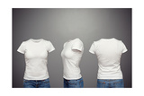 Front  Back And Side Views Of Blank Feminine T-Shirt Over Dark Background