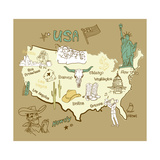Stylized Map Of America Things That Different Regions In Usa Are Famous For