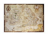 Old Map Of British Islands Created By Laurence Nowell  Published In England  1564