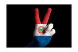Paraguay National Flag Two Finger Up Gesture For Victory And Winner Symbol Made With Hand