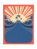 Tropical Background With Palms On Grunge Poster