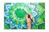 Man Painting Bright Green Picture With Circle Pattern  Mandala Of Anahata Chakra