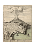 Old French Engraved Illustration Showing The City Of Catania  Sicily  At The Foot Of Mount Etna