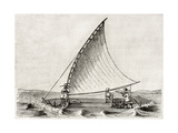 Old Illustration Of A Jangada  Traditional Fishing Boat Used In Northern Region Of Brazil