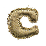 Linen Vintage Cloth Letter C Isolated On White