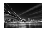New York City  Brooklyn Bridge At Night - New York  United States - Black And White Toned